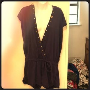 💜NWOT Rocawear Purple Gold Studded Romper Sz L💜
